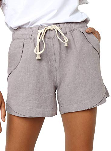 Dokotoo Womens Loose Female Summer Beach Fashion Linen Shorts Fashion Ladies Elastic Waist Casual Solid Comfy Cotton Linen Beach Shorts Pants Grey ()