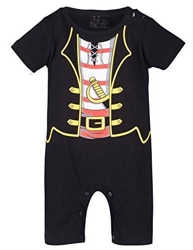 Mombebe Baby Boys' Pirate Costume Romper (3-6 Months, Black) (Costume Ideas For 3)