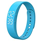 Smart Wristband Non-Bluetooth Pedometer Bracelet Fitness Tracker Smart Watch with Timer Vibration Alarm Step Calories Counter Distance Time Date for Walk for Kids[Upgrade Version] (Blue)