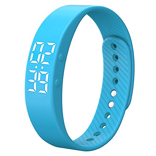 Blue Kids Wristband (Smart Wristband Non-Bluetooth Pedometer Bracelet Fitness Tracker Smart Watch with Timer Vibration Alarm Step Calories Counter Distance Time / Date for Walk for Kids[Upgrade Version] (Blue))