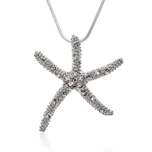 PammyJ Clear Crystal Starfish Silvertone Charm Necklace, 17