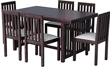 CK Handicrafts Sheesham Wood Dining Table Set with 6 Chair for Living Room Brown