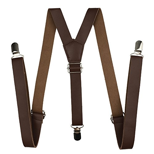 Suspenders Leather, Cinny 1 inch Strap for Men and Women with Metal Clips (Dark Brown)