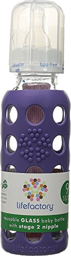 Lifefactory 9-Ounce BPA-Free Glass Baby Bottle with Protective Silicone Sleeve and Stage 2 Nipple, Royal Purple
