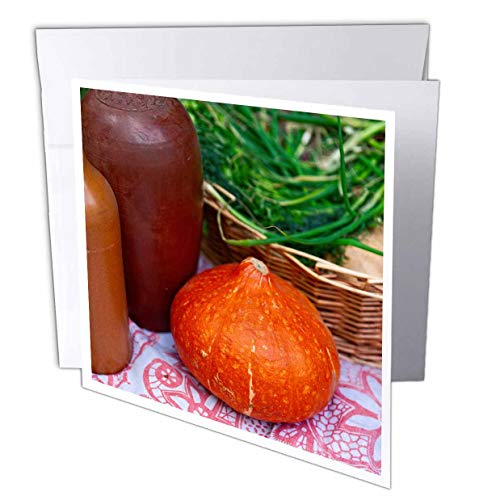 3dRose Alexis Photography - Still-Life - Still Life with an Orange Pumpkin, Green Onion, Ceramic Bottles - 12 Greeting Cards with envelopes (gc_308117_2) ()