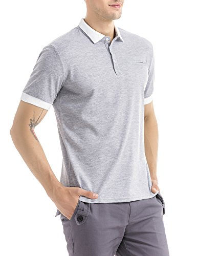 HSRKB Men's Uniform Polo Shirts-Gray-M (Linen Blend Three Button Jacket)