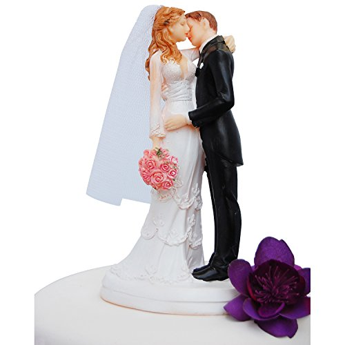 Wedding Cake Topper Funny & Romantic Groom And Bride kissing with flowers Figurine | Toppers For Wedding Cakes Decoration | Hand Painted & Unique (Groom Cake Top)