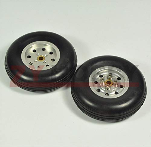 Kamas 1 Pair 4inch Solid Rubber Wheels with Alu Hub for RC Airplane H28mm New