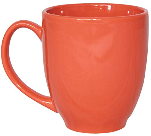 Orange Coffee Mug - ITI Ceramic Bistro Coffee Mugs with Pan Scraper, 14 Ounce (4-Pack, Orange)