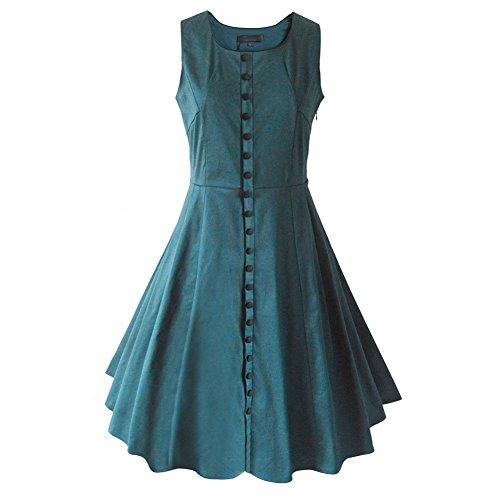 Pinkyee - Vestido - trapecio - para mujer Verde