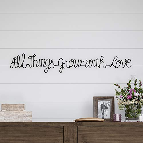 Lavish Home Metal Cutout-All Things Grow with Love Cursive Sign-3D Word Art Home Accent Decor-Perfect for Modern Rustic or Vintage Farmhouse Style (Words Art For Wall)