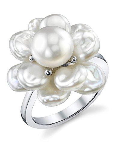 White Freshwater Keshi Shaped Cultured Pearl Ring (Keshi Pearl Cultured)
