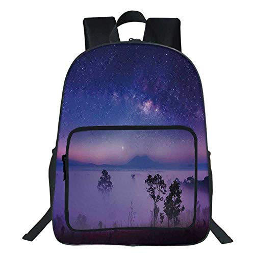 Space School Bag,Milk Way Starry Night in a National Park Thailand Mystical Forest Scenery Picture For Teens Girls Boys ,11.8