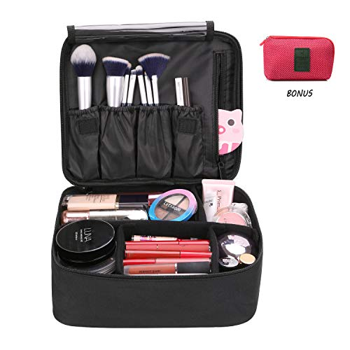Cosmetic bag, DIMJ Travel Makeup Bag Train Case Makeup Portable Artist Storage Bag 10.3'' with Adjustable Dividers for Cosmetics Makeup Brushes Toiletry Jewelry Digital accessories-Black
