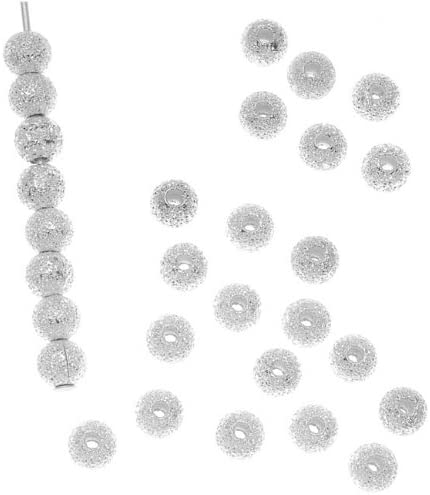 50 4mm Silver Plated Stardust Sparkle Round Beads