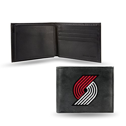 - Rico Portland Trail Blazers NBA Embroidered Team Logo Black Leather Billfold Wallet