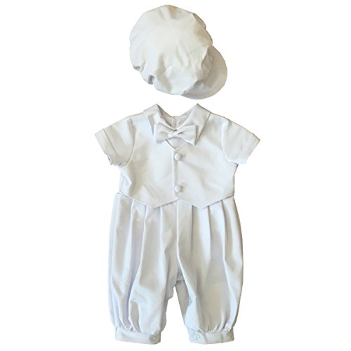 BBVESTIDO 100% Cotton White Baby Boy Christening Romper with Hat 0691B (L,10-18 Months)
