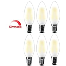 Best to Buy® (6-PACK) 6W E12 Dimmable White,5000K, LED Filament Candle Light Bulb, 600LM,E12 Candelabra Base Lamp C35 Bullet Top,Frosted Glass Cover,60W Incandescent Equivalent