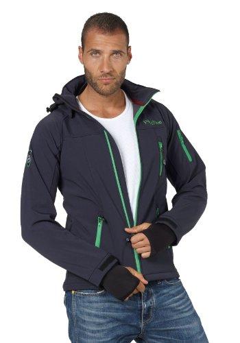 Softshell-Jacke Outdoor-Jacken Herren von Fifty Five - Alert navy/green XL - FIVE-TEX Membrane für Outdoor-Bekleidung