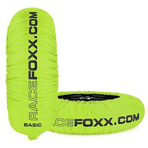 Bandenverwarmer RACEFOXX Basic 80° C verwarmingstemperatuur SUPERMOTO, 120/17 voor en 160/17 achter, neon geel