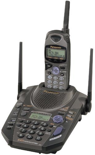 Panasonic KX-TG2593B 2.4 GHz DSS 2-Line Cordless Telephone with Caller ID and Digital Answering System (Black)