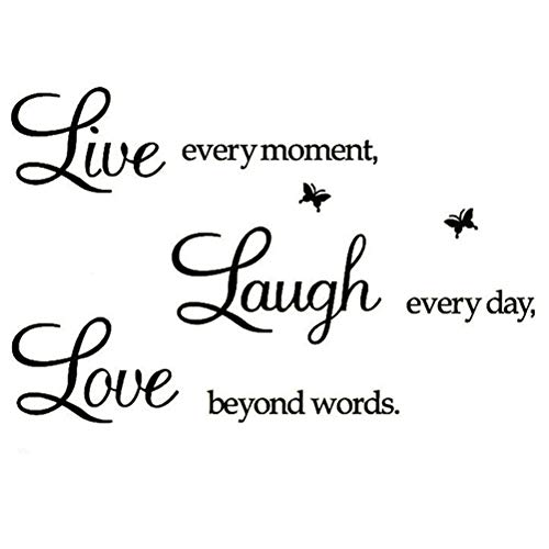 Live Every Moment,Laugh Every Day,Love Beyond Words,Wall Sticker Motivational Wall Decals,Family Inspirational Wall Stickers -