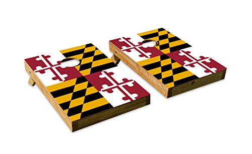 Maryland State Flag Design Cornhole/Bean Bag Toss Board Set - Made in USA Wood  - 2'x3' Tailgate Size - Includes 8 Corn-Filled Bean Bags