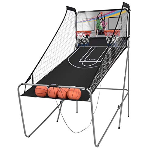 LHONE Foldable Double Shootout Basketball Arcade Game SporTriple Electronic Hoops Indoor Shot 2 Player with 4 Balls
