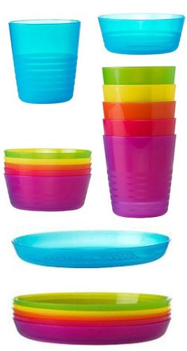 Plastic Cups Bowls and Plates Set Assorted Colours Pack of 18 (Cups 20 cl  sc 1 st  Amazon UK & Plastic Cups Bowls and Plates Set Assorted Colours Pack of 18 (Cups ...
