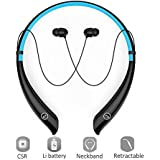 Bluetooth Earbuds, Wireless Headphones Neckband Headset Stereo Hand-free Sports In-ear Noise Cancelling Earphone with Mic for iPhone 8/7/6, Samsung, Android and Other Bluetooth Devices by Havan (Blue)