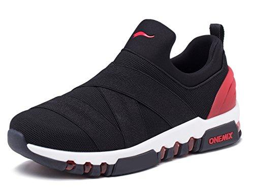 Onemix Mens Scarpe Da Corsa Traspirante Per Camminare Sportivo Con Scarpe Da Ginnastica Allaria Aperta Nero / Rosso