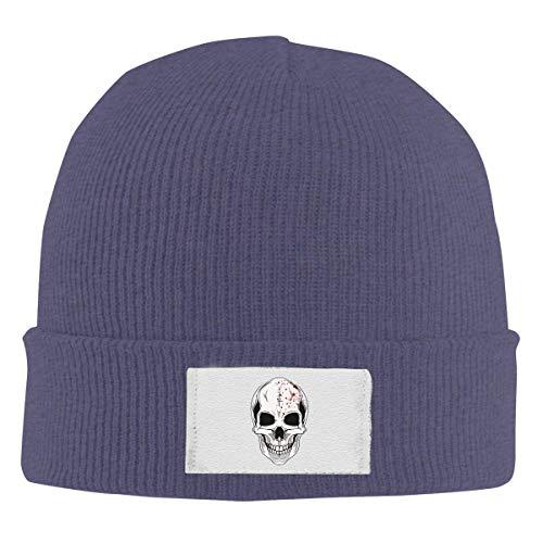 LXXYZ Skull Knit Cap,Unisex Elastic Knitted Beanie Cap Halloween Skull Logo Winter Outdoor Warm Skull Hats Navy ()