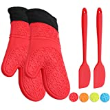 ATOZEDO Durable Silicone Oven Mitts, Extra Long Heat Resistant Oven Gloves with Quilted Liner - Plus Silicone Baking Spatula(2pcs) in Food Grade Silicone Material Red Oven Mitts Set