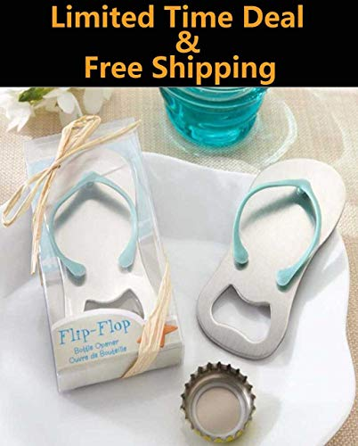 Riforla ⭐⭐⭐⭐⭐ Flip-Flop Bottle Opener, Beach Flip Flops Bottle Opener Keychain Corkscrew Key Chain Holder or Fridge Magnet Bridal Shower Wedding Favors