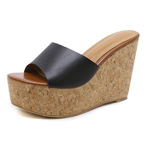 GIY Women High Heels Platform Sandals Peep Toe Slip on Cork Heeled Wedge Sandals Slide Shoes Black