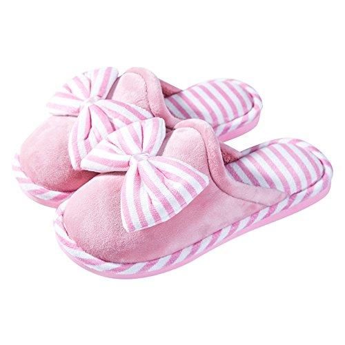 Eastlion Damen Bow Knot Winter Indoor Anti-Rutsch-Fleece Keep Warm Hausschuhe Haus Haus Hausschuhe Rosa