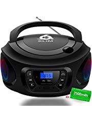 KLIM™ CD Boombox Portable Audio, FM Radio, Rechargeable Battery, Bluetooth, MP3 and AUX. Equipped with Neodymium Speakers, [2020 Release] Upgraded CD Laser Lens.