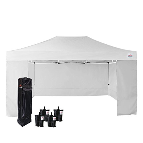 UNIQUECANOPY 500D Enhanced 10x15 Ez Pop up Canopy Portable Folded Commercial Canopy Car Shelter Wedding Party Show Tent with 4 Zippered Side Walls and Wheeled Carrying Bag White