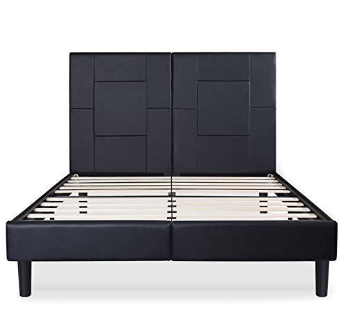 Anesi 14 inch Dura Metal Faux Leather Wood Folding Platform Bed Frame Black (Queen)