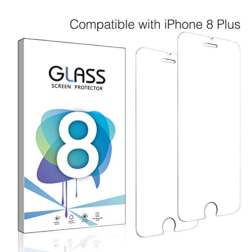 iPhone 8 Plus Screen Protector, TUPREX [9H Hardness] [Anti-scratches] Tempered Glass Film Screen Protector for Apple iPhone 8 Plus - 2 PACK