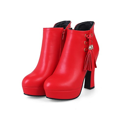 High Fringed Red Urethane ABL10510 Ankle Chunky Womens Boots Heels BalaMasa 7xwqAqX