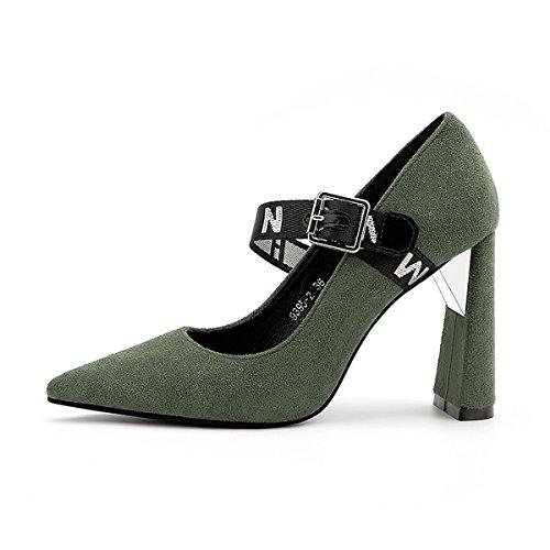 DIMAOL Chaussures Femmes de Réconfort Printemps Automne en Simili Cuir Talon Aiguille Talons Bout Pointu Pour Partie & Soir Vert Kaki Kaki,Noir,Rouge US5.5/EU36/UK3.5/CN35