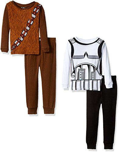 Star Wars Boys' 4-Piece Cotton Pajama Set, Brown/White, 10