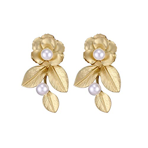 Baroque Fashion Vintage Flower Leaves Pearl Dangle Earring Retro Palace Statement Earrings Women Party Jewelry Gift