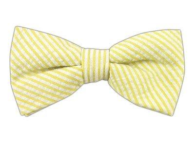 Yellow Seersucker (The Tie Bar 100% Cotton Yellow Seersucker Self-Tie Bow Tie)