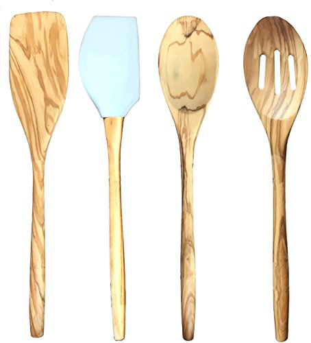 Italian Olive Wood Utensil 4 piece Set 12 inch Turner Spoon Slotted Spoon Silicone Pointed Spatula Cooking Tools