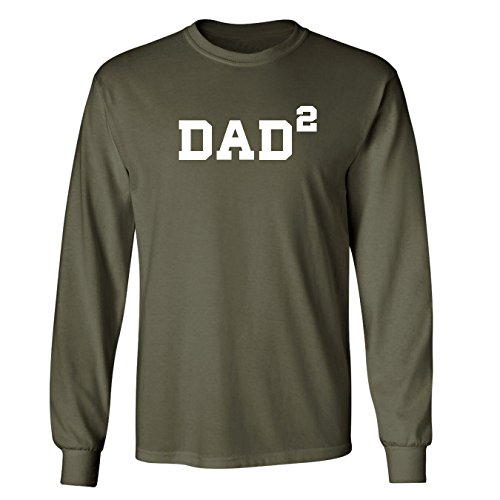 Mashed Clothing Dad Squared (Dad to 2 Kids) Adult Long Sleeve T-Shirt (Military Green, Medium)