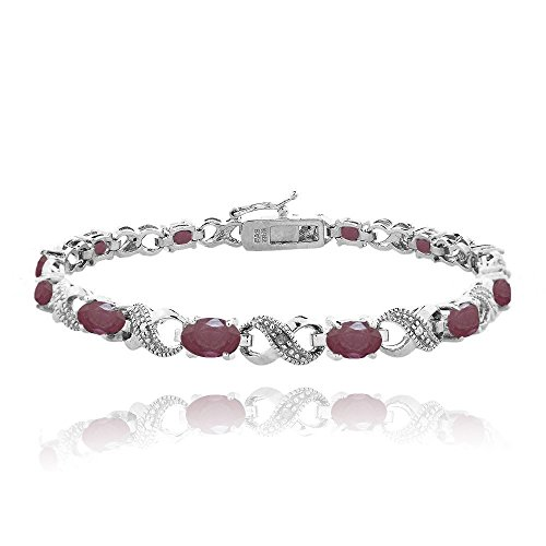 Silver Tone 6.6ct TGW Ruby & Diamond Accent Infinity - Diamonds Sparkling Bracelet