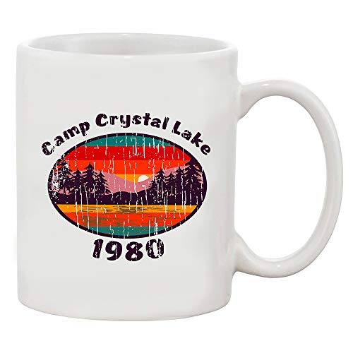 Camp Crystal Lake 1980 Halloween Costume Fan Wear White Coffee Mug (White, 11 oz) -