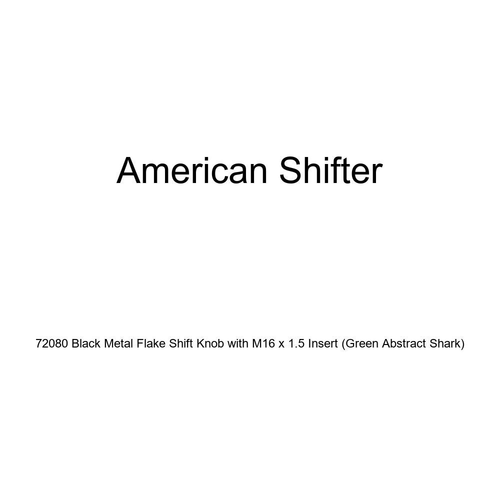 American Shifter 72080 Black Metal Flake Shift Knob with M16 x 1.5 Insert Green Abstract Shark